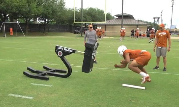 TE Lateral Footwork Drill on Sled- University of Texas