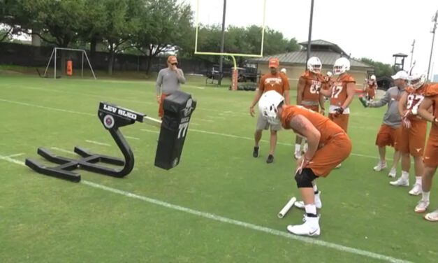 TE Vertical Footwork Drill on Sled- University of Texas