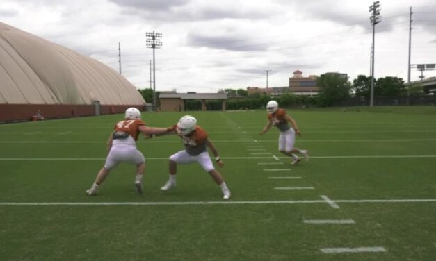 TE- Backside Sift Drill vs 9 Tech Defender (Attached Position)- University of Texas